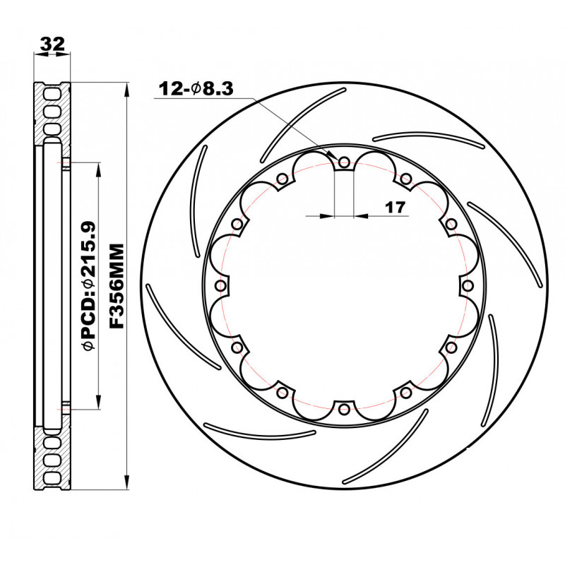 Front Brake Discs 356x32mm Slotted Fixing